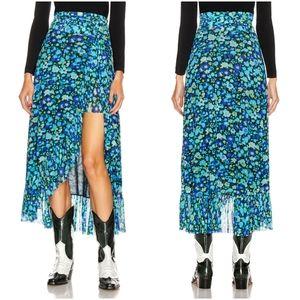 Ganni Printed Mesh Wrap Skirt size 34 NWT
